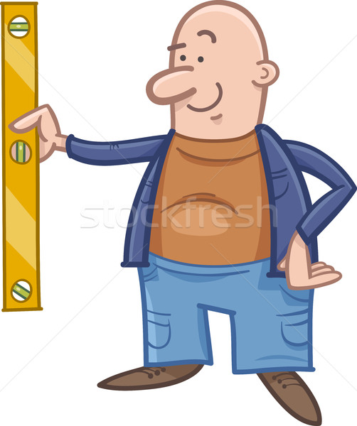 worker with spirit level cartoon Stock photo © izakowski