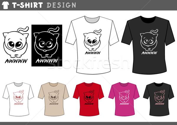 Design adorable chat illustration tshirt for Stock t shirt designs