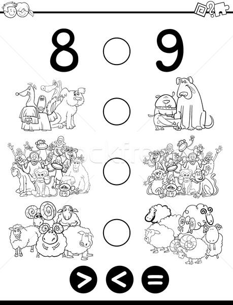 Menos igual blanco negro Cartoon ilustración educativo Foto stock © izakowski