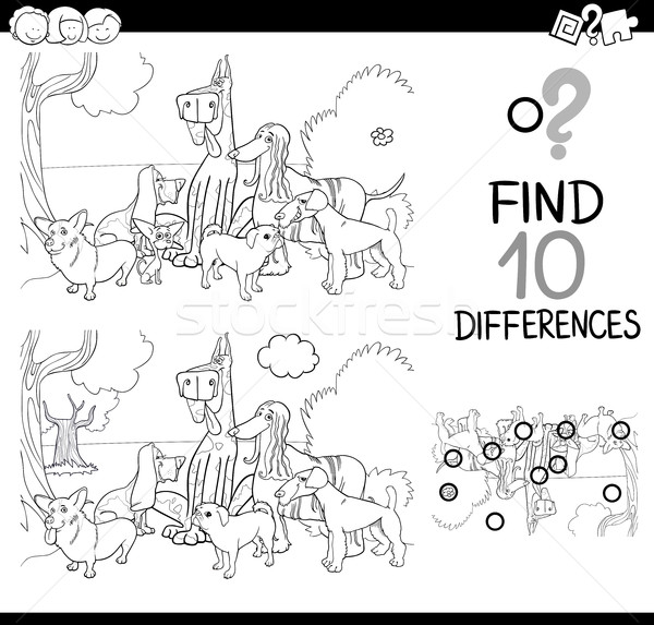 dogs difference game coloring page Stock photo © izakowski