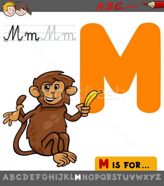 M betű rajz majom oktatási illusztráció ábécé Stock fotó © izakowski