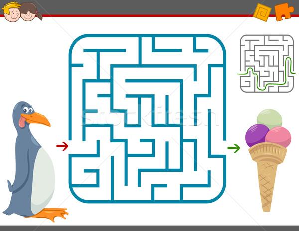 Laberinto ocio juego pingüino Cartoon ilustración Foto stock © izakowski