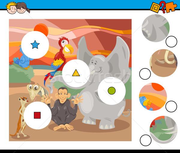 Wedstrijd stukken spel safari dieren cartoon illustratie Stockfoto © izakowski