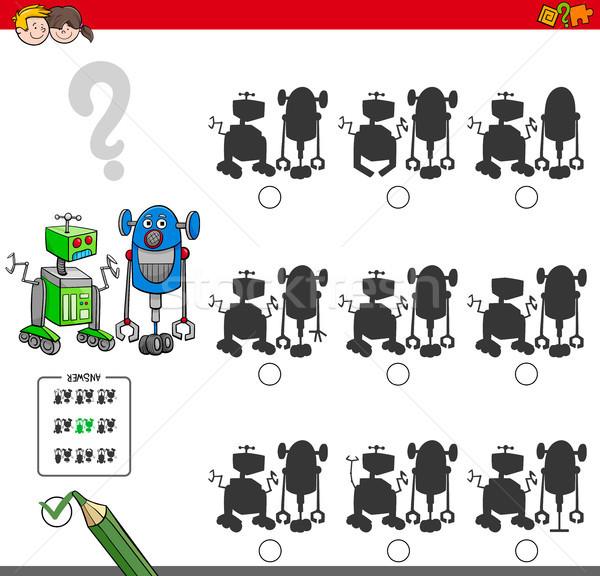 Oktatási árnyék játék robotok rajz illusztráció Stock fotó © izakowski