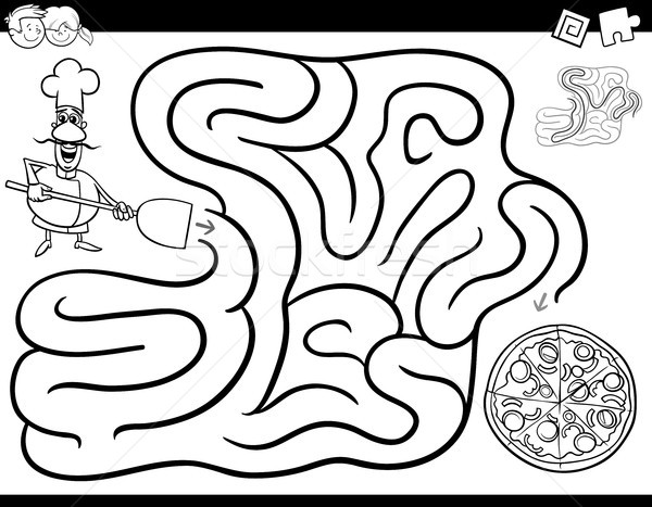 maze game coloring book with chef and pizza Stock photo © izakowski