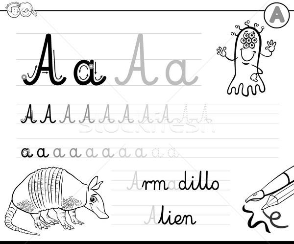 Stok fotoğraf: Yazmak · mektup · siyah · beyaz · karikatür · örnek · yazı