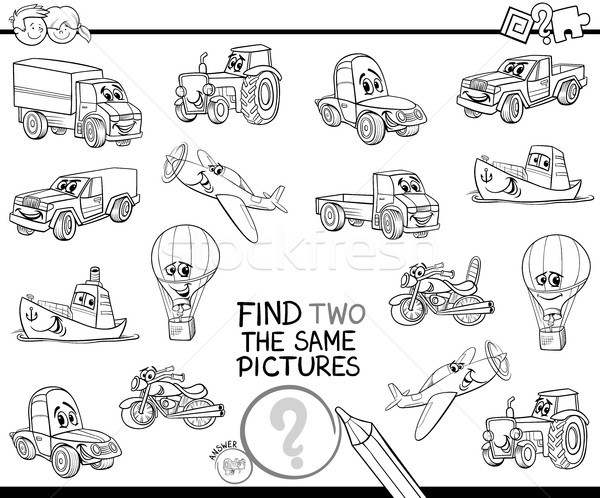 find two the same vehicles color book Stock photo © izakowski