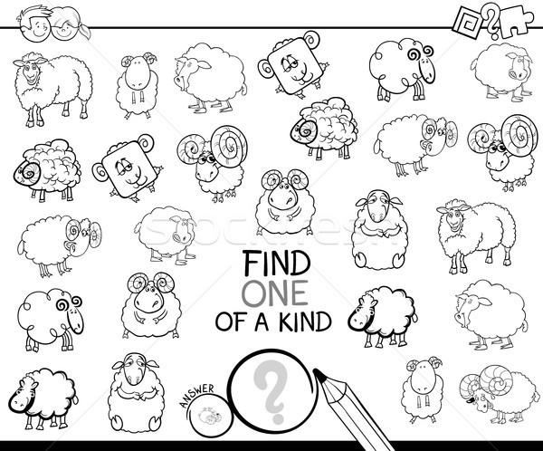one of a kind game with sheep color book Stock photo © izakowski
