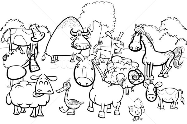 cartoon farm animal characters coloring book Stock photo © izakowski