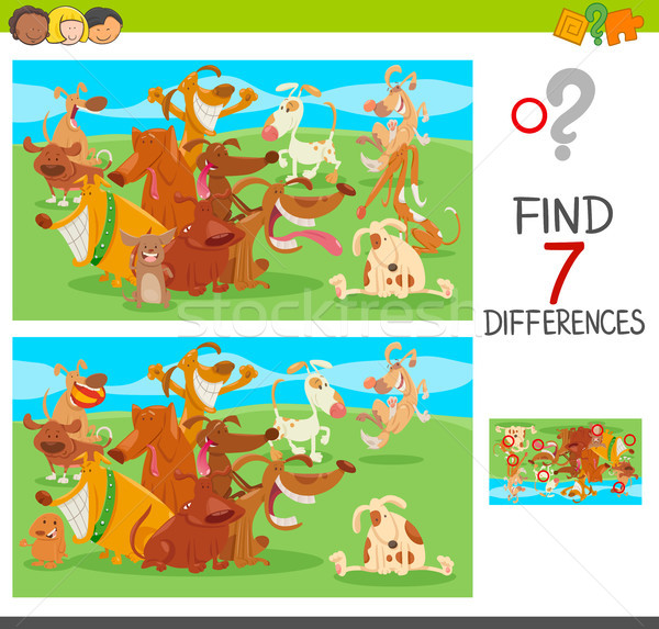 differences game with dog characters Stock photo © izakowski
