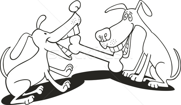 dogs playing with bone for coloring book Stock photo © izakowski