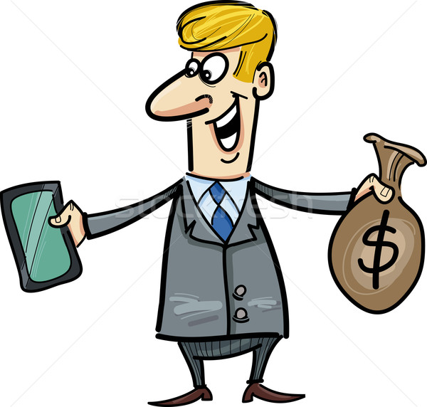 businessman with tablet and sack of dollars Stock photo © izakowski