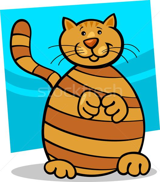 Amarelo gato desenho animado ilustração bonitinho vermelho Foto stock © izakowski