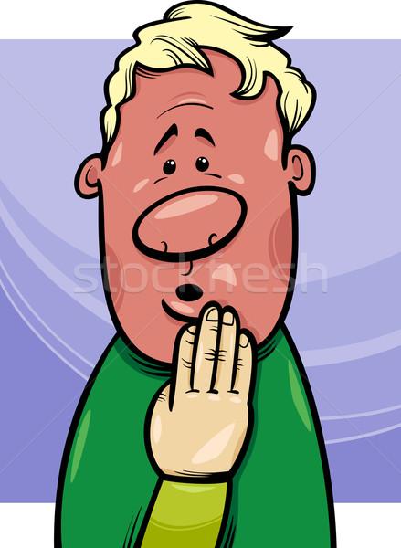 shy man concept cartoon illustration Stock photo © izakowski