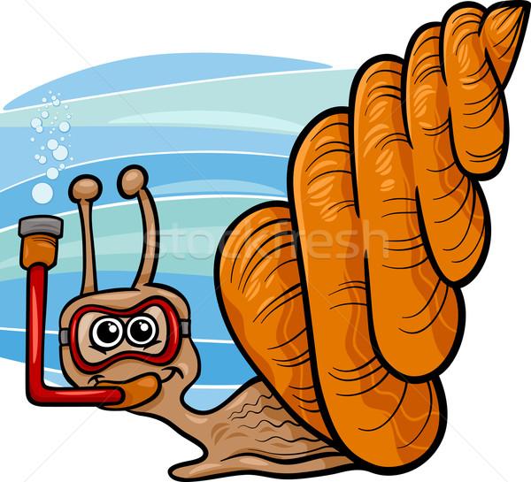 sea snail cartoon illustration Stock photo © izakowski