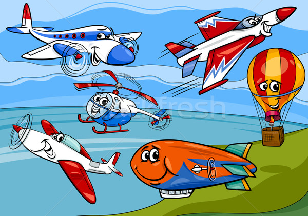 planes aircraft group cartoon illustration Stock photo © izakowski