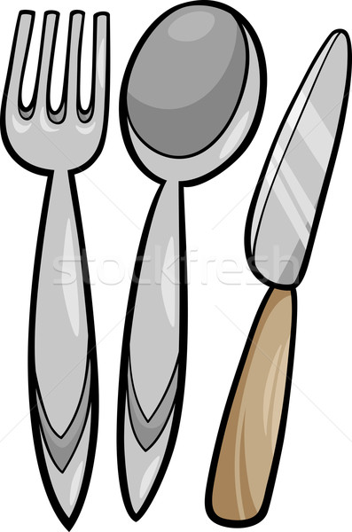Besteck karikatur illustration k che gabel for Herramientas de un cocinero