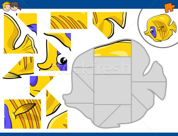 Kirakós játék hal rajz illusztráció oktatási tevékenység Stock fotó © izakowski