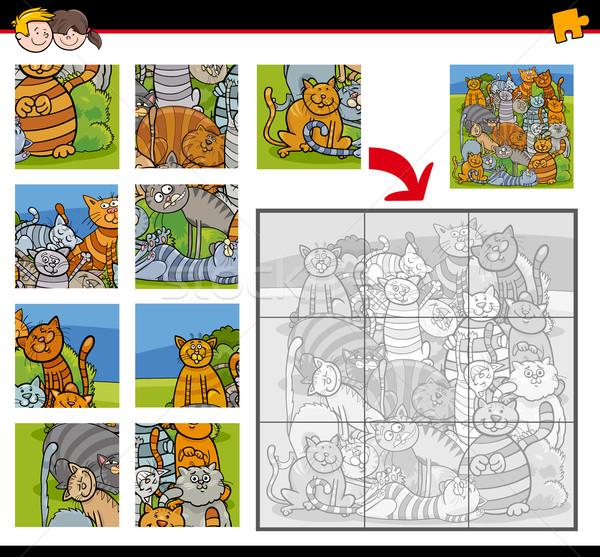 jigsaw puzzle activity with cats Stock photo © izakowski