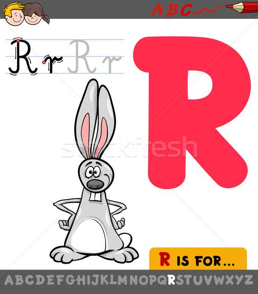 letter r with cartoon rabbit Stock photo © izakowski