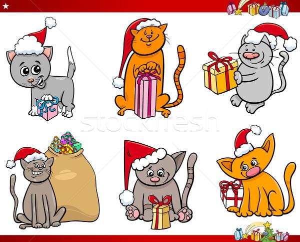 ストックフォト: 猫 · クリスマス · 時間 · 漫画 · セット · 実例