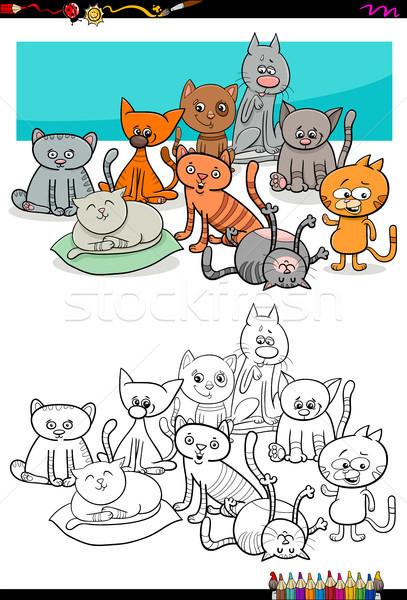 cats characters group coloring book Stock photo © izakowski