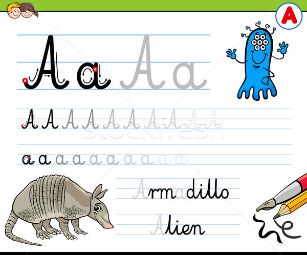 how to write letter A worksheet for kids Stock photo © izakowski
