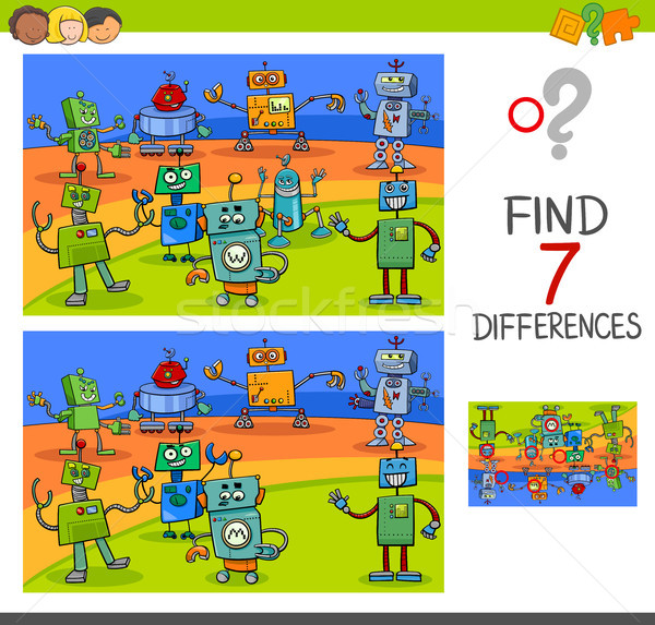 differences game with robot characters Stock photo © izakowski