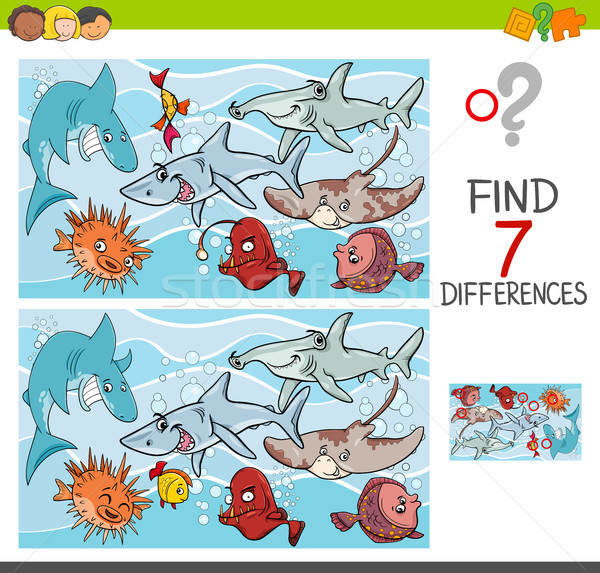 find differences with fish sea life characters Stock photo © izakowski