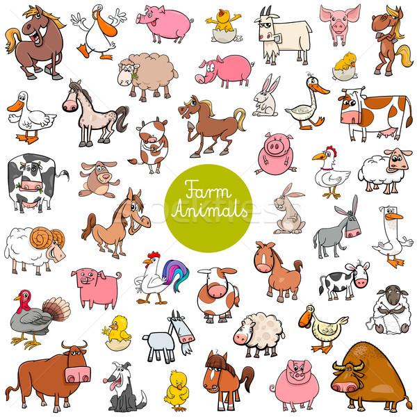 cartoon farm animal characters big set Stock photo © izakowski