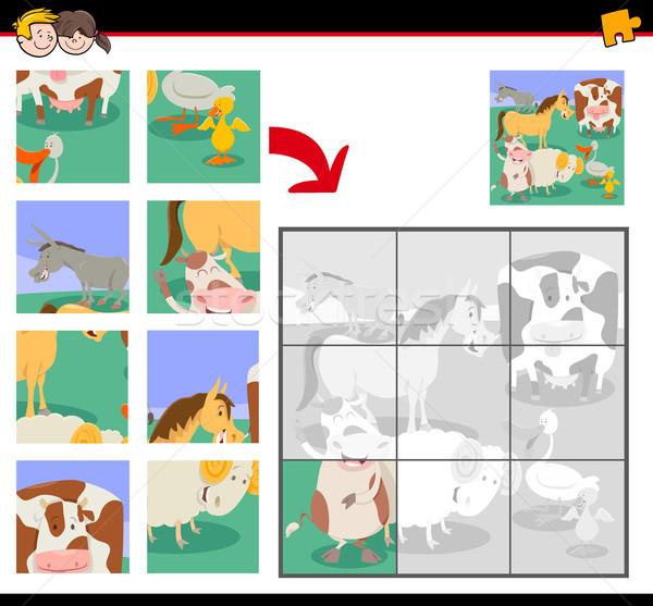 Cute boerderijdieren cartoon illustratie onderwijs Stockfoto © izakowski