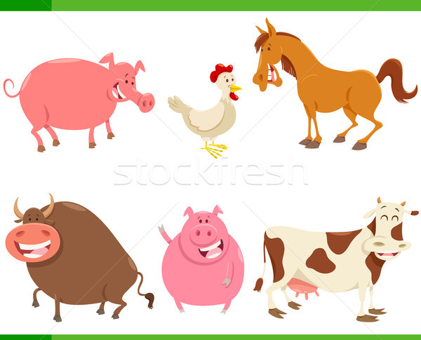 cartoon cute farm animal characters set Stock photo © izakowski