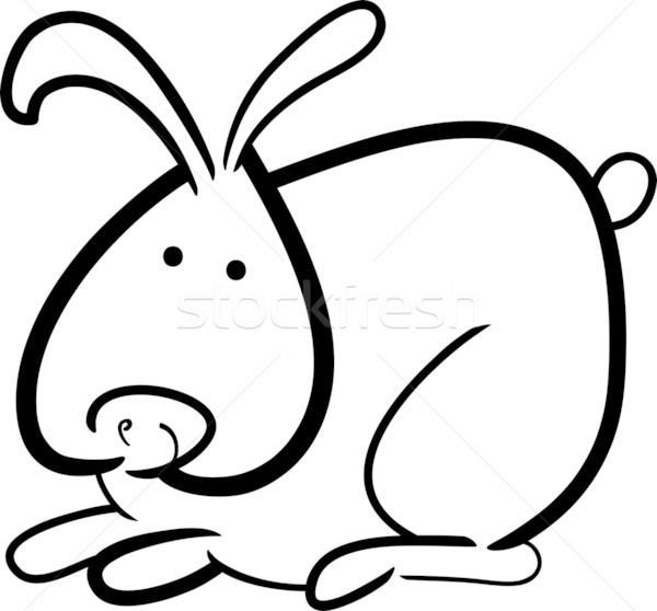 Karikatür Tavşan Boyama Kitabı örnek Sevimli Küçük