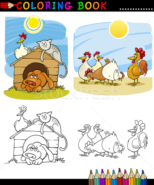 Farm and Companion Animals for Coloring Stock photo © izakowski