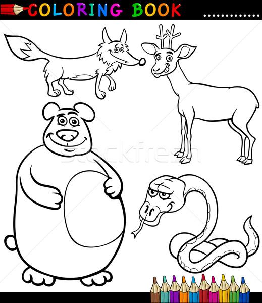 Karikatür Vahşi Hayvanlar Boyama Kitabı Siyah Beyaz