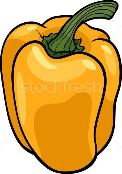 Stock photo: yellow pepper vegetable cartoon illustration