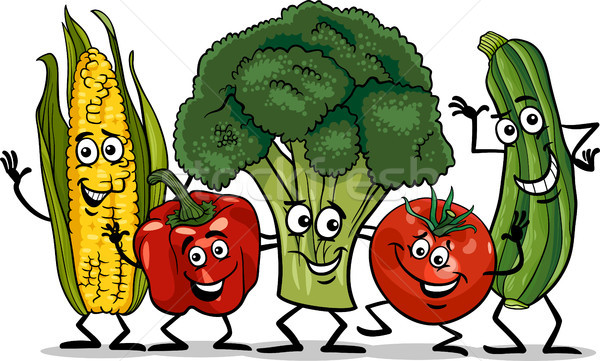 Cômico legumes grupo desenho animado ilustração feliz Foto stock © izakowski