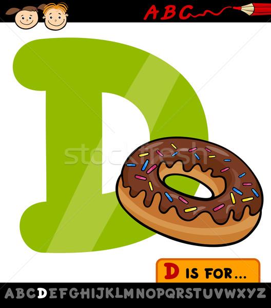 D betű fánk rajz illusztráció nagybetű ábécé Stock fotó © izakowski