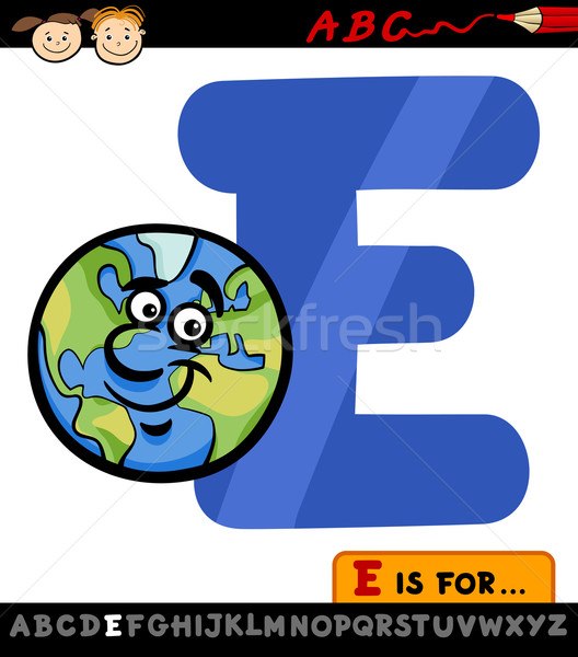 letter e with earth cartoon illustration Stock photo © izakowski