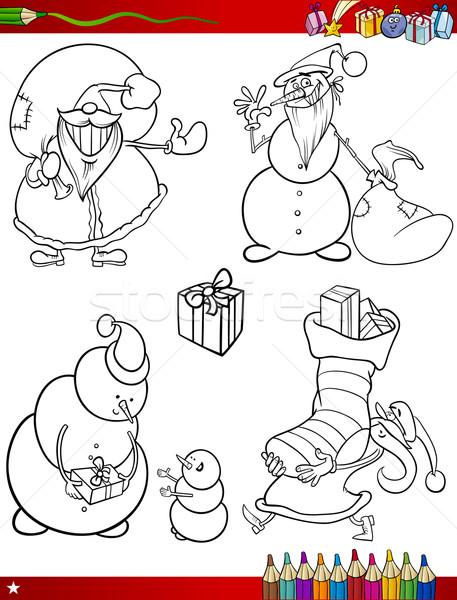 cartoon christmas themes coloring page Stock photo © izakowski