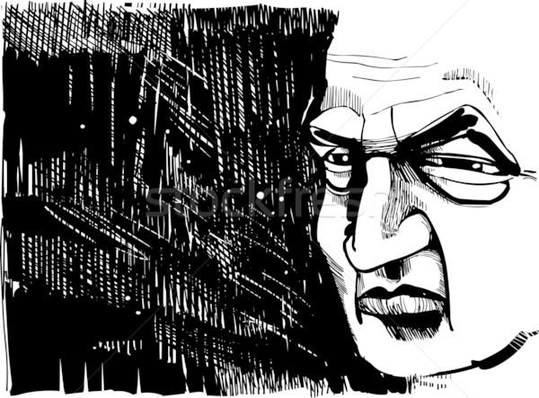 Vieillard dessin illustration livre visage homme Photo stock © izakowski
