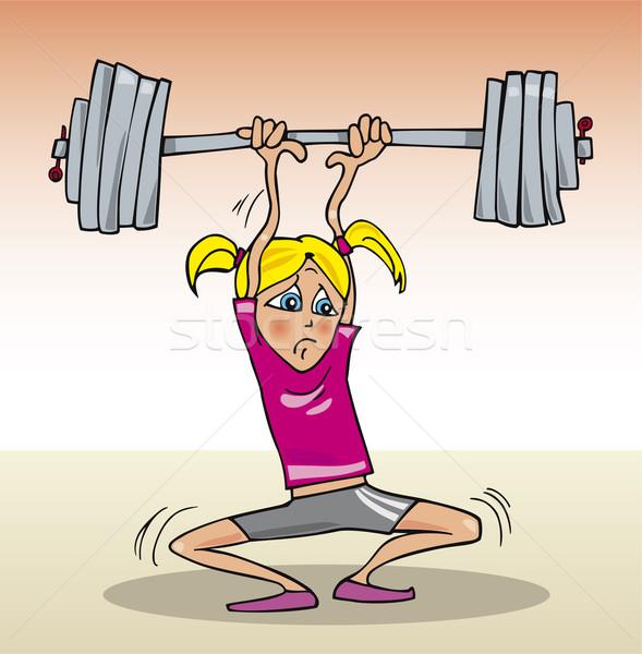 Stock photo: Girl lifting heavy weight