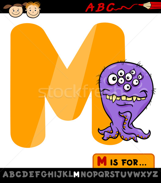 letter m with monster cartoon illustration Stock photo © izakowski