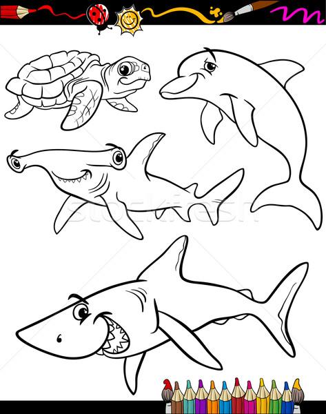Stock photo: sea life animals cartoon coloring book