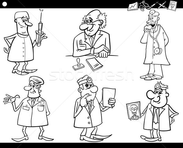 medical staff set coloring book Stock photo © izakowski
