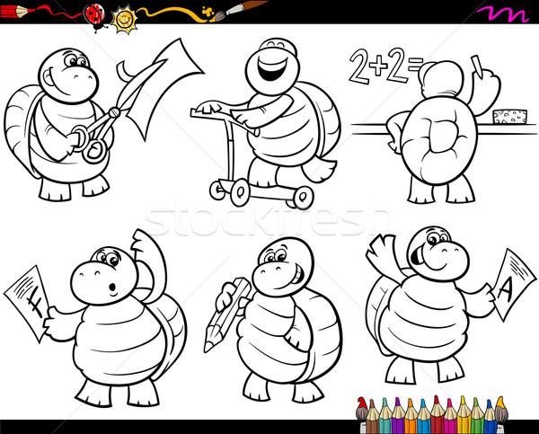 şcoală Broască ţestoasă Set Desen Animat Carte