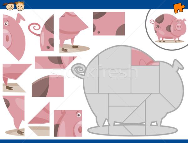 Cartoon cerdo rompecabezas tarea ilustración educativo Foto stock © izakowski