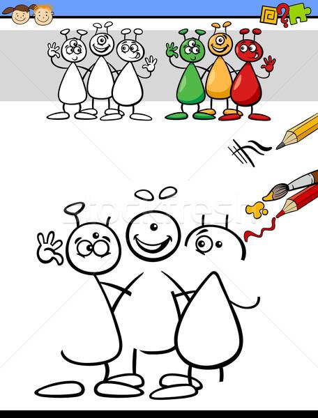 Cor desenho tarefa crianças desenho animado ilustração Foto stock © izakowski