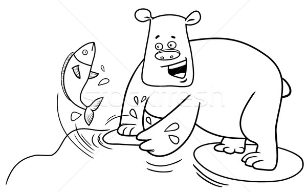 Pêche ours page blanc noir cartoon illustration Photo stock © izakowski