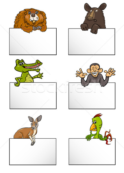 animals with cards cartoon set Stock photo © izakowski